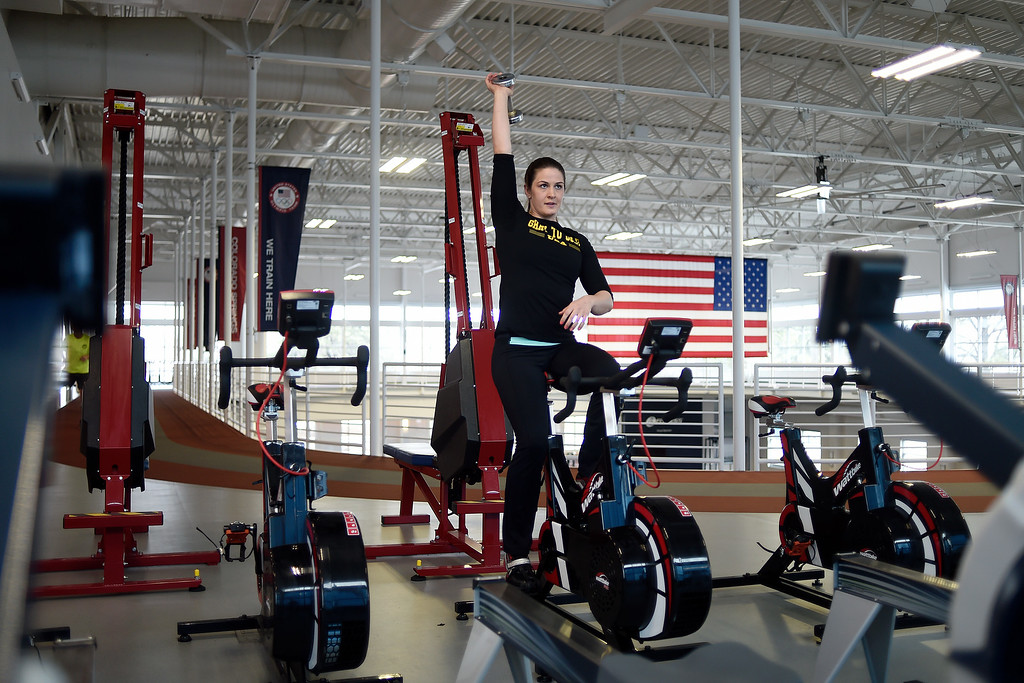 . COLORADO SPRINGS, CO - MARCH 31: United States Olympic hopeful Adeline Gray works out in the gym during an afternoon session on Thursday, March 31, 2016. Gray, who is a three-time world champion, is a favorite to become the United States\' first ever female Olympic wrestling champion. (Photo by AAron Ontiveroz/The Denver Post)