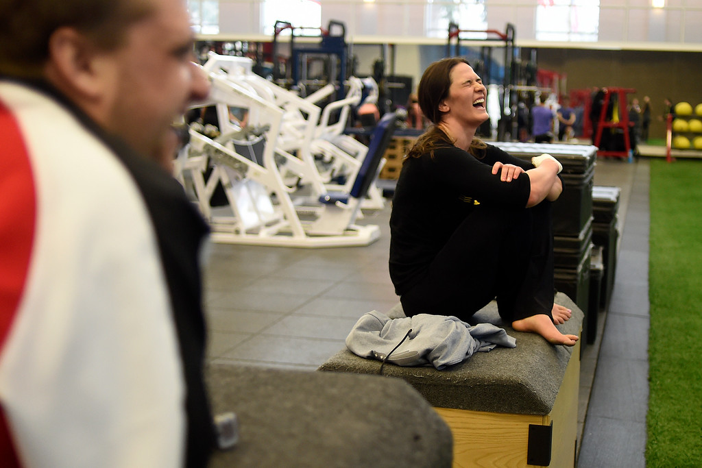 . COLORADO SPRINGS, CO - MARCH 31: United States Olympic hopeful Adeline Gray jokes with people in the gym during an afternoon workout on Thursday, March 31, 2016. Gray, who is a three-time world champion, is a favorite to become the United States\' first ever female Olympic wrestling champion. (Photo by AAron Ontiveroz/The Denver Post)