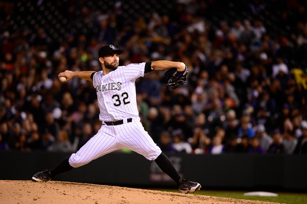 . DENVER, CO - APRIL 12: Colorado Rockies starting pitcher Tyler Chatwood (32) pitches during the fourth inning at Coors Field on April 12, 2016 in Denver, Colorado. (Photo by Brent Lewis/The Denver Post)