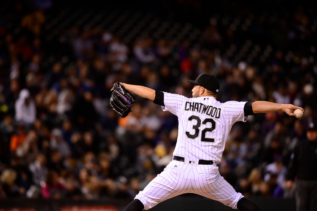 . DENVER, CO - APRIL 12: Colorado Rockies starting pitcher Tyler Chatwood (32) pitches during the sixth inning at Coors Field on April 12, 2016 in Denver, Colorado. San Francisco Giants defeated the Colorado Rockies 7-2. (Photo by Brent Lewis/The Denver Post)