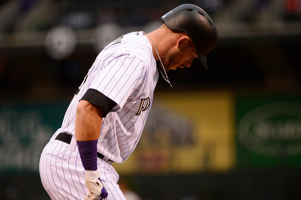 . DENVER, CO - APRIL 12: Colorado Rockies shortstop Trevor Story (27) walks up to the plate during the first inning at Coors Field on April 12, 2016 in Denver, Colorado. (Photo by Brent Lewis/The Denver Post)