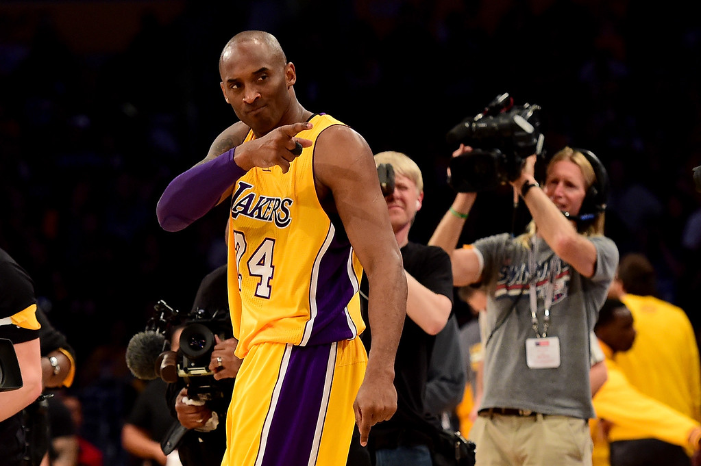. LOS ANGELES, CA - APRIL 13:  Kobe Bryant #24 of the Los Angeles Lakers reacts before taking on the Utah Jazz at Staples Center on April 13, 2016 in Los Angeles, California. NOTE TO USER: User expressly acknowledges and agrees that, by downloading and or using this photograph, User is consenting to the terms and conditions of the Getty Images License Agreement.  (Photo by Harry How/Getty Images)