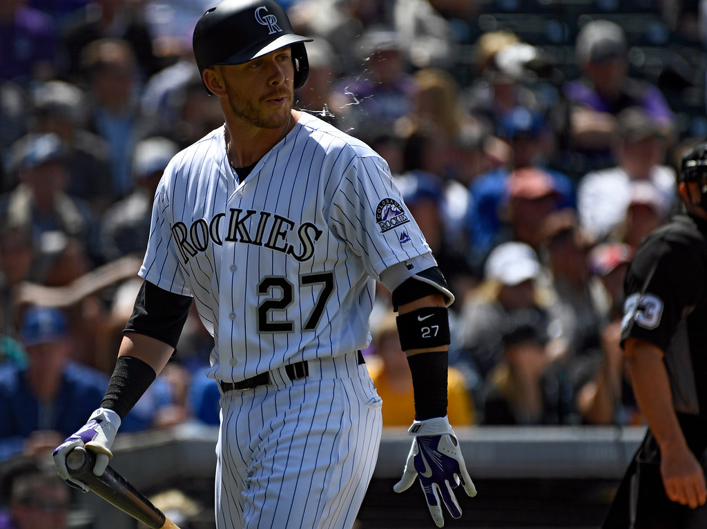. DENVER, CO - APRIL 24: Colorado Rockies shortstop Trevor Story (27) heads back to the dugout after striking out swinging against the Los Angeles Dodgers int he first inning April 24, 2016 jet Coors Field. (Photo By John Leyba/The Denver Post)