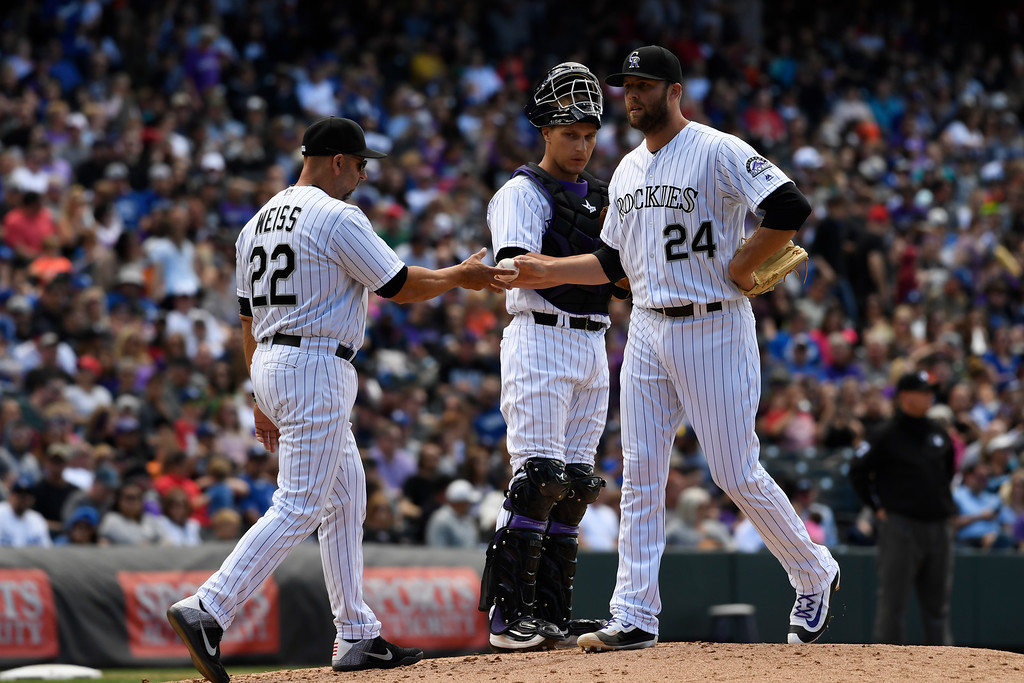 . DENVER, CO - APRIL 24: Colorado Rockies manager Walt Weiss (22) gets the ball from Colorado Rockies starting pitcher Jordan Lyles (24) as he pulls him from the game in the third inning against the Los Angeles Dodgers April 24, 2016 at Coors Field. (Photo By John Leyba/The Denver Post)