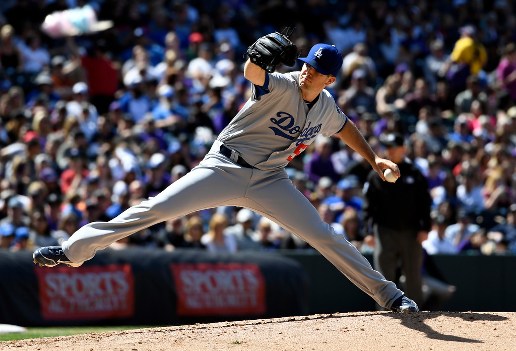 . DENVER, CO - APRIL 24: Los Angeles Dodgers starting pitcher Alex Wood (57) delivers a pitch in the third inning against the Colorado Rockies April 24, 2016 at Coors Field. (Photo By John Leyba/The Denver Post)