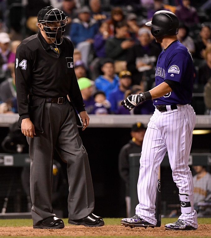 . DENVER, CO - APRIL 25: Ryan Raburn (6) of the Colorado Rockies argues balls and strikes with umpire Lance Barrett (94) moments before being ejected during the sixth inning at Coors Field. The Colorado Rockies hosted the Pittsburgh Pirates on Monday, April 25, 2016. (Photo by AAron Ontiveroz/The Denver Post)