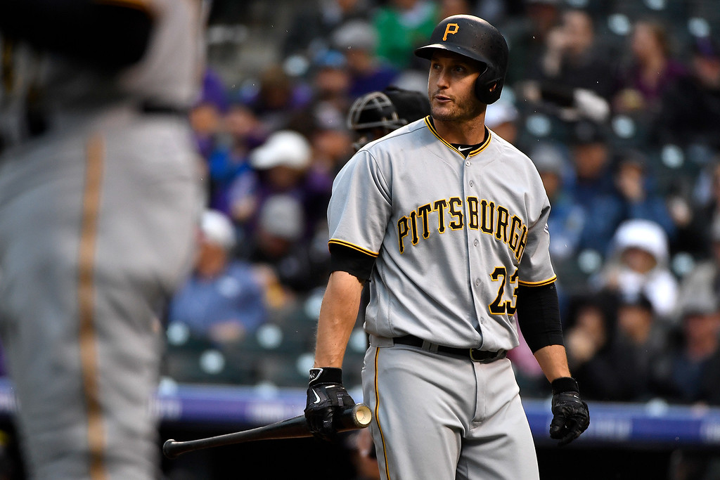 . DENVER, CO - APRIL 25: David Freese (23) of the Pittsburgh Pirates reacts to being struck out by Chad Bettis (35) of the Colorado Rockies during the first inning at Coors Field. The Colorado Rockies hosted the Pittsburgh Pirates on Monday, April 25, 2016. (Photo by AAron Ontiveroz/The Denver Post)