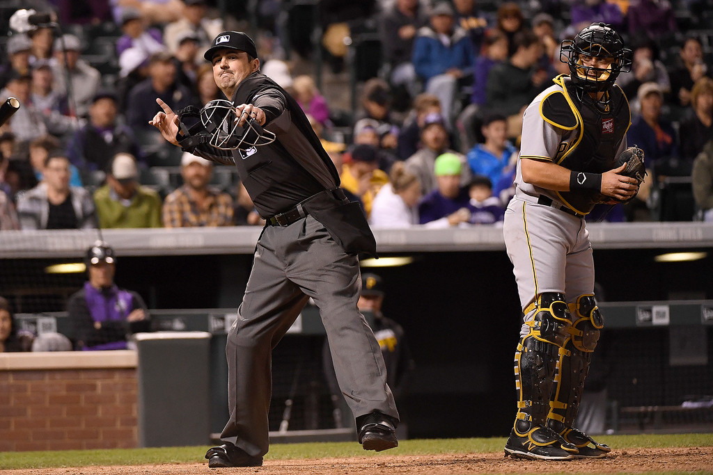 . DENVER, CO - APRIL 25: umpire Lance Barrett (94) ejects Ryan Raburn (6) of the Colorado Rockies after he argued balls and strikes during the sixth inning at Coors Field. The Colorado Rockies hosted the Pittsburgh Pirates on Monday, April 25, 2016. (Photo by AAron Ontiveroz/The Denver Post)