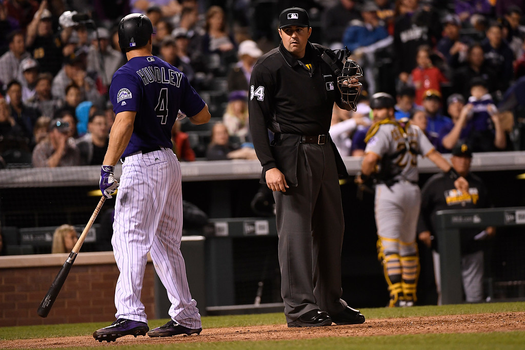 . DENVER, CO - APRIL 25: Nick Hundley (4) of the Colorado Rockies argues balls and strikes with umpire Lance Barrett (94) during the fourth inning at Coors Field. Manager Walt Weiss would be ejected for continuing the argument. The Colorado Rockies hosted the Pittsburgh Pirates on Monday, April 25, 2016. (Photo by AAron Ontiveroz/The Denver Post)