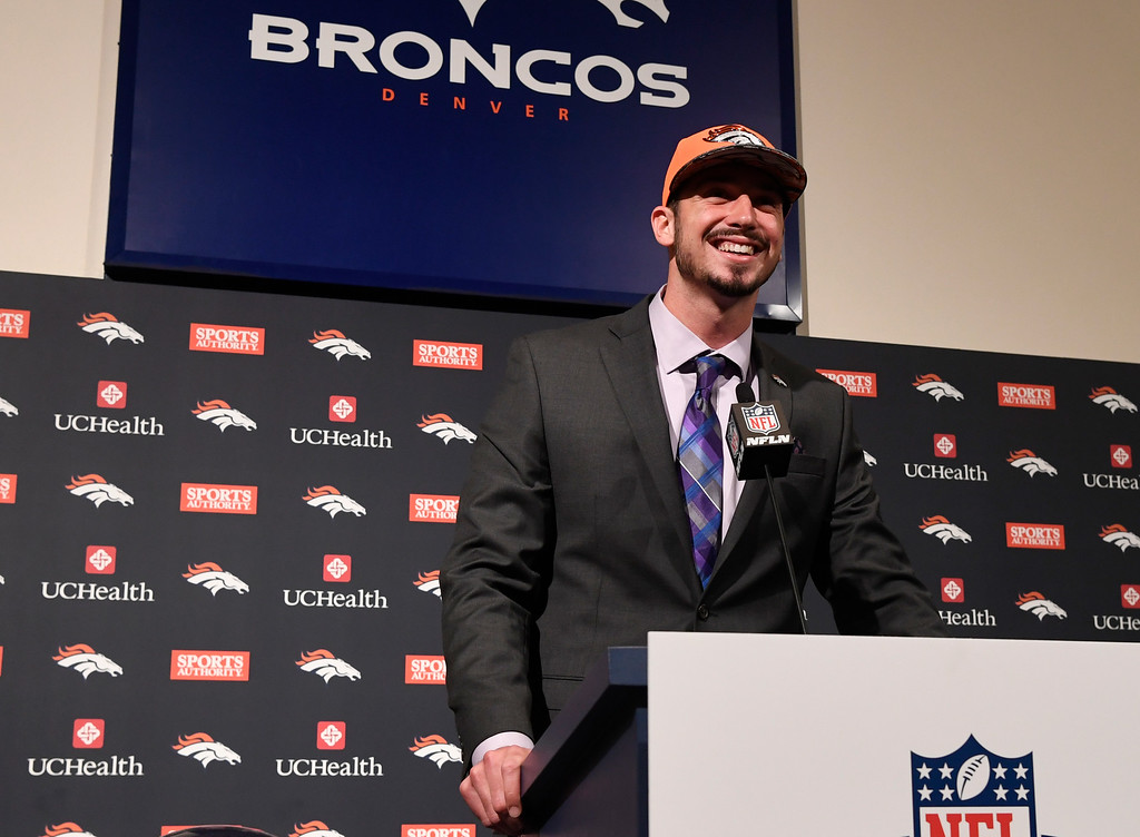 . Denver Broncos first round pick QB Paxton Lynch during his introductory press conference at Broncos headquarters April 29, 2016. (Photo by Andy Cross/The Denver Post)