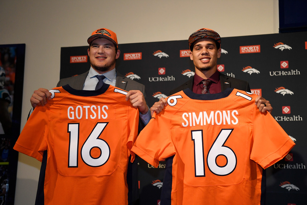 . Denver Broncos second round pick DL Adam Gotsis, left, and third round pick safety Justin Simmons during their introductory press conference at Broncos headquarters April 30, 2016. (Photo by Andy Cross/The Denver Post)