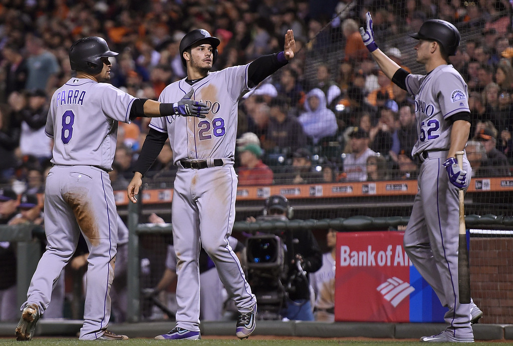 . SAN FRANCISCO, CA - MAY 05:  Gerardo Parra #8, Nolan Arenado #28 and Chris Rusin #52 of the Colorado Rockies celebrates after Parra and Arenado scored against the San Francisco Giants in the top of the fifth inning at AT&T Park on May 5, 2016 in San Francisco, California. Parra and Arenado scored on a bases loaded two-run rbi double from Tony Wolters #14 (not pictued). (Photo by Thearon W. Henderson/Getty Images)
