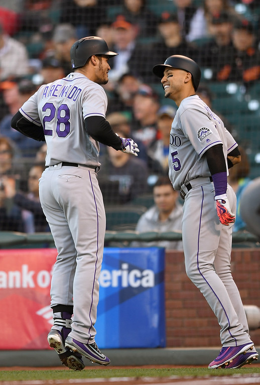 . SAN FRANCISCO, CA - MAY 05:  Nolan Arenado #28 and Carlos Gonzalez #5 of the Colorado Rockies celebrates after Arenado hit a two-run home run against the San Francisco Giants in the top of the first inning at AT&T Park on May 5, 2016 in San Francisco, California.  (Photo by Thearon W. Henderson/Getty Images)