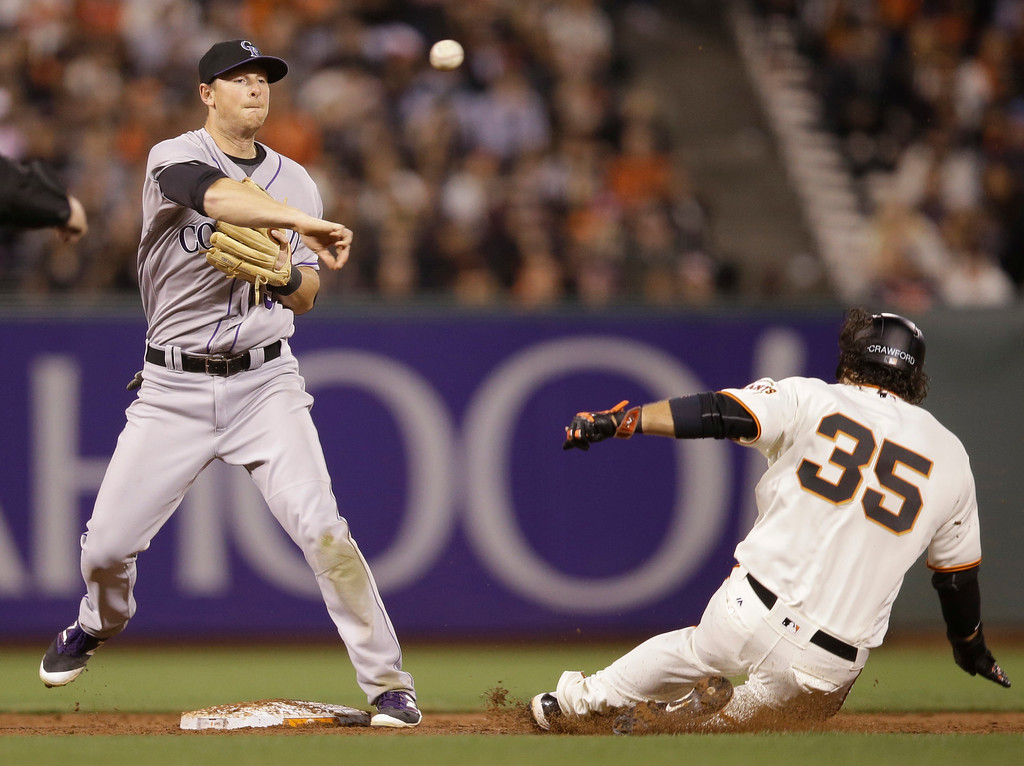 . Colorado Rockies second baseman DJ LeMahieu, left, completes a double play over San Francisco Giants\' Brandon Crawford, right, on a ground ball from Mac Williamson during the third inning of a baseball game Thursday, May 5, 2016, in San Francisco. (AP Photo/Marcio Jose Sanchez)