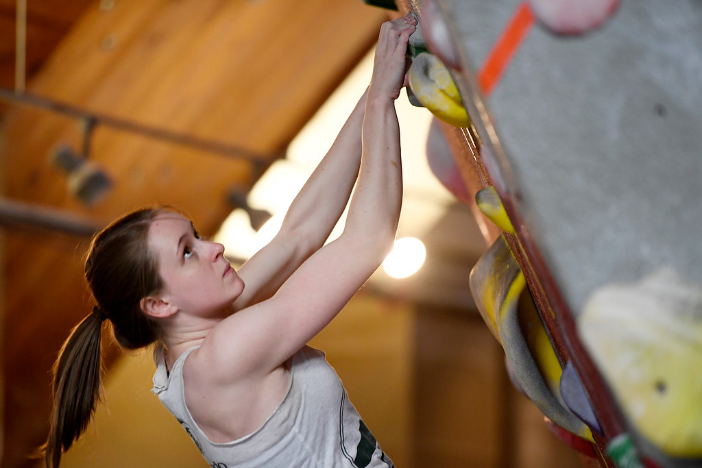 . FORT COLLINS, CO - MAY 05: Karen Gilbert boulders on Thursday, May 5, 2016. In April, the Colorado State climbing team won the USA Climbing national title � its second straight win. (Photo by AAron Ontiveroz/The Denver Post)