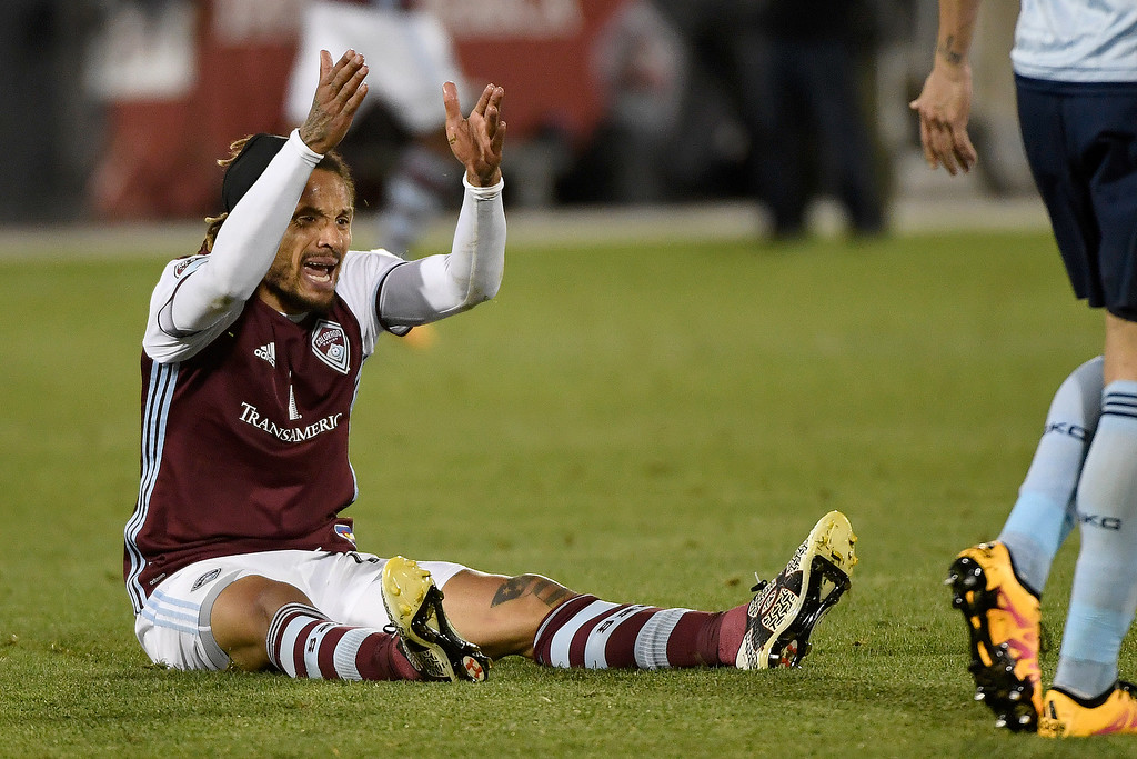 . COMMERCE CITY, CO - MAY 11: Jermaine Jones (13) of Colorado Rapids looks for a penalty call after taking contact in the box against Sporting Kansas City during the second half of the Rapids\' 1-0 win. The Colorado Rapids hosted Sporting Kansas City on Wednesday, May 11, 2016. (Photo by AAron Ontiveroz/The Denver Post)