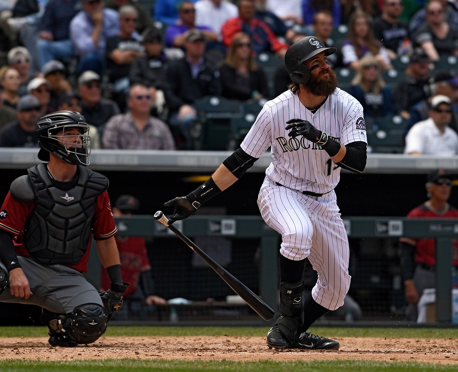. DENVER, CO - MAY 11: Colorado Rockies center fielder Charlie Blackmon (19) blasts a two run single against the Arizona Diamondbacks during the 4th inning May 11, 2016 at Coors Field. (Photo By John Leyba/The Denver Post)