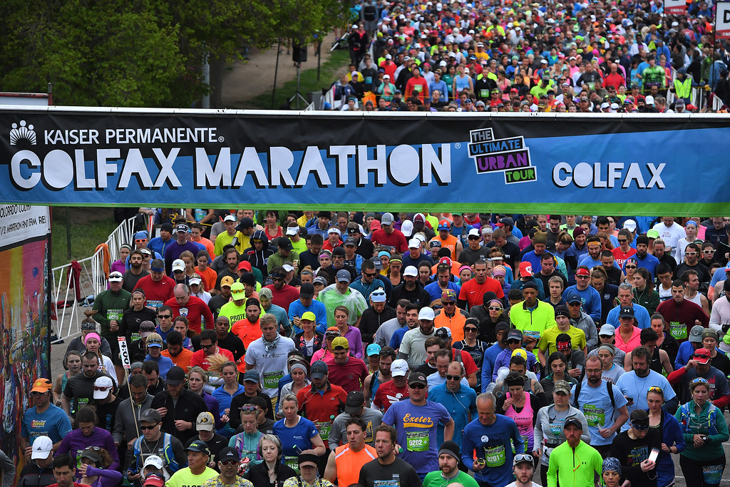 . DENVER, CO - MAY 15: Runners take off after the countdown at the start of the 11th annual Colfax Marathon that started and finished in City Park on May 15, 2016 in Denver, Colorado.  Thousands of runners took part in the annual springtime race which included a marathon, a marathon relay,  a half marathon and the urban 10 miler.  (Photo by Helen H. Richardson/The Denver Post)