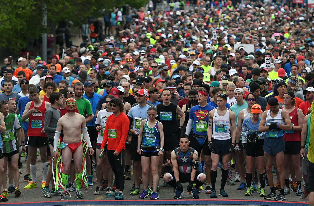 . DENVER, CO - MAY 15: Runners wait for the countdown at the start of the 11th annual Colfax Marathon that started and finished in City Park on May 15, 2016 in Denver, Colorado.  Thousands of runners took part in the annual springtime race which included a marathon, a marathon relay,  a half marathon and the urban 10 miler.  (Photo by Helen H. Richardson/The Denver Post)