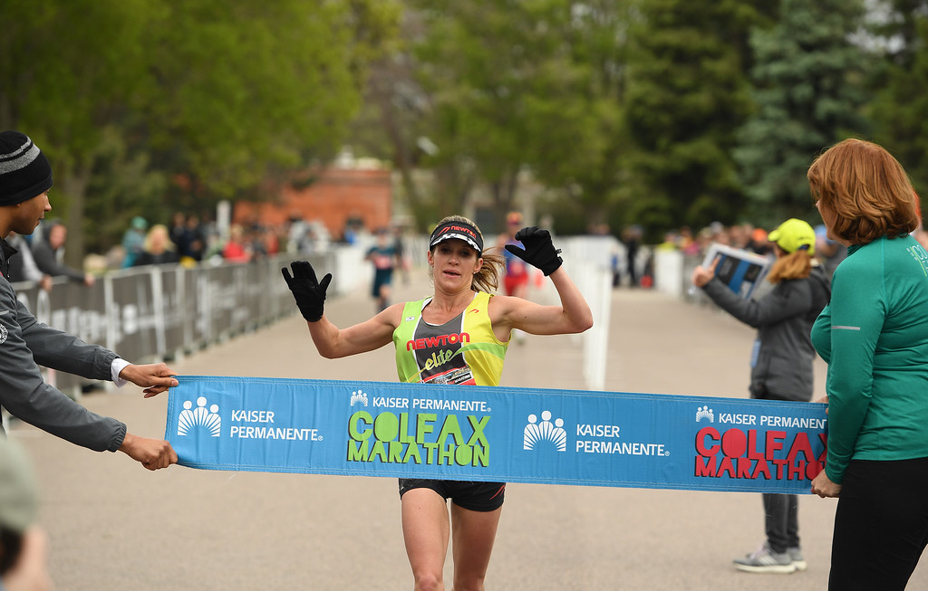 . DENVER, CO - MAY 15: Runner Nicole Chyr wins the Colfax Half Marathon with a time of 1:27:47 during the 11th annual Colfax Half Marathon on May 15, 2016 in Denver, Colorado.  Thousands of runners took part in the annual springtime race which included a marathon, a marathon relay,  a half marathon and the urban 10 miler.  (Photo by Helen H. Richardson/The Denver Post)