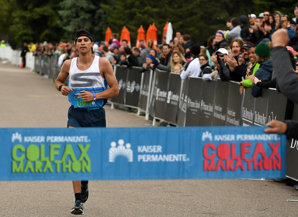 . DENVER, CO - MAY 15: Runner Patrick Rizzo, of Colorado Springs, wins the Colfax Marathon with a time of 2:32:36 during the 11th annual Colfax Half Marathon on May 15, 2016 in Denver, Colorado.  Thousands of runners took part in the annual springtime race which included a marathon, a marathon relay,  a half marathon and the urban 10 miler.  (Photo by Helen H. Richardson/The Denver Post)