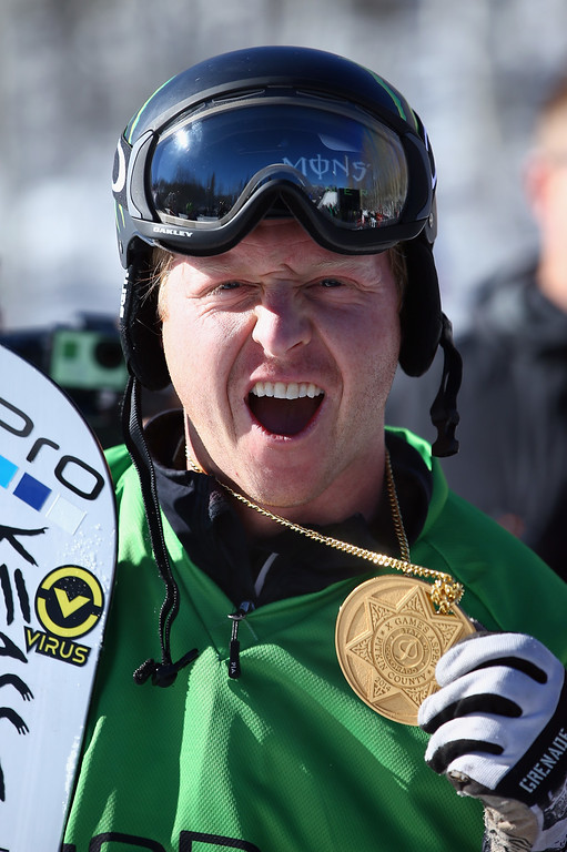 . ate Holland celebrates with his gold medal after winning men\'s Snowboarder X during Winter X-Games 2014 Aspen at Buttermilk Mountain on January 24, 2014 in Aspen, Colorado.  (Photo by Doug Pensinger/Getty Images)