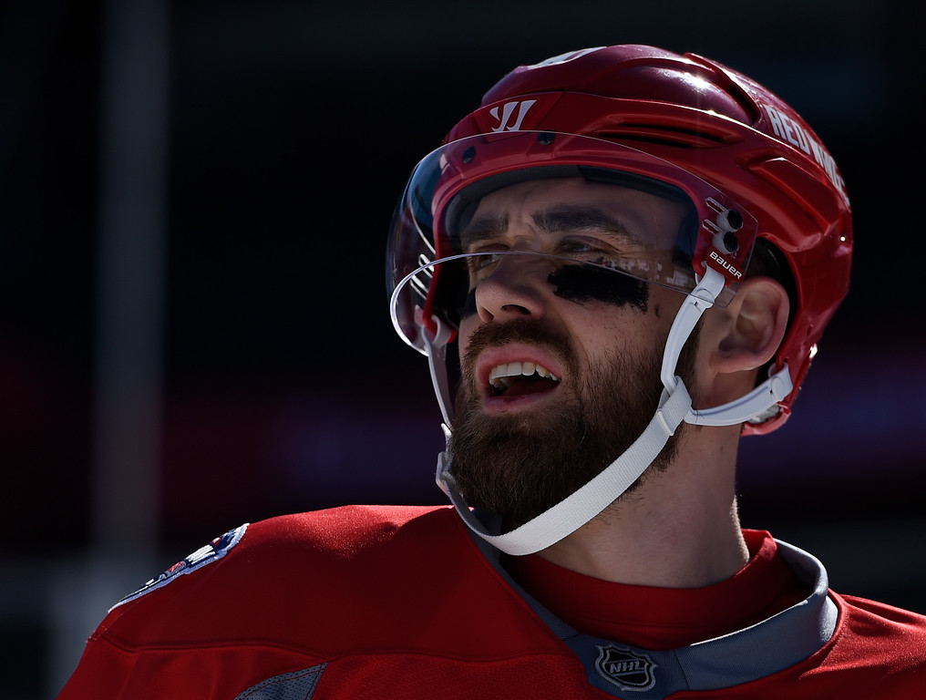 . DENVER, CO - FEBRUARY 26: Detroit Red Wings left wing Henrik Zetterberg (40) sports the eye black during practice February 26, 2016 at Coors Field. (Photo By John Leyba/The Denver Post)