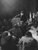 """1969, MAR 4 1969<br /> <br /> Speaking against Dr. Hayakawa is a youth who identified himself as Bruce<br /> Hartford, 25, a senior at San Francisco  State College. Several took microphone after speech. Hartford said Hayakawa is man """"who denies freedom of speech."""" <br /> <br /> Credit: Denver Post"""