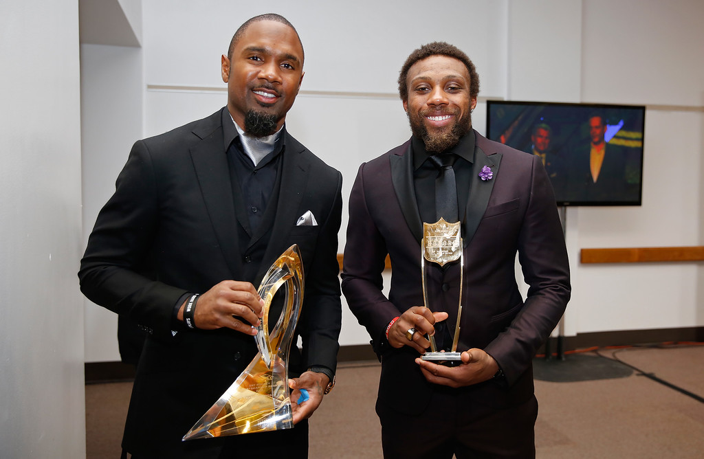 . Former NFL player Charles Woodson, left, holds the Art Rooney award, and Kansas City Chiefs\' Eric Berry holds the AP Comeback Player of the Year award at the fifth annual NFL Honors at the Bill Graham Civic Auditorium on Saturday, Feb. 6, 2016, in San Francisco. (Photo by Alison Yin/Invision for NFL/AP Images)