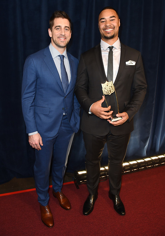 . Green Bay Packers quarterback Aaron Rodgers, left, and tight end Richard Rodgers pose backstage with the award for the Bridgestone Performance Play of the Year at the fifth annual NFL Honors at the Bill Graham Civic Auditorium on Saturday, Feb. 6, 2016, in San Francisco. (Photo by Jordan Strauss/Invision for NFL/AP Images)