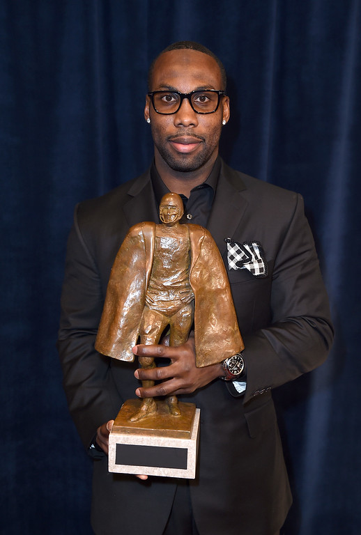 . San Francisco 49ers\' Anquan Boldin poses backstage with the Walter Payton NFL Man of the Year award at the fifth annual NFL Honors at the Bill Graham Civic Auditorium on Saturday, Feb. 6, 2016, in San Francisco. (Photo by Jordan Strauss/Invision for NFL/AP Images)