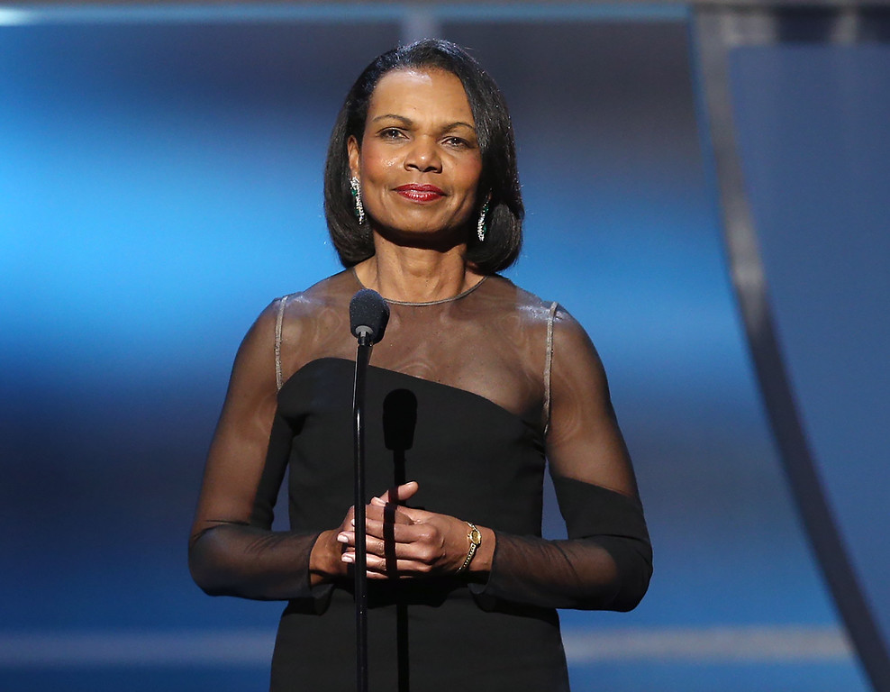 . Former Secretary of State Condoleezza Rice speaks at the fifth annual NFL Honors at the Bill Graham Civic Auditorium on Saturday, Feb. 6, 2016, in San Francisco. (Photo by John Salangsang/Invision for NFL/AP Images)