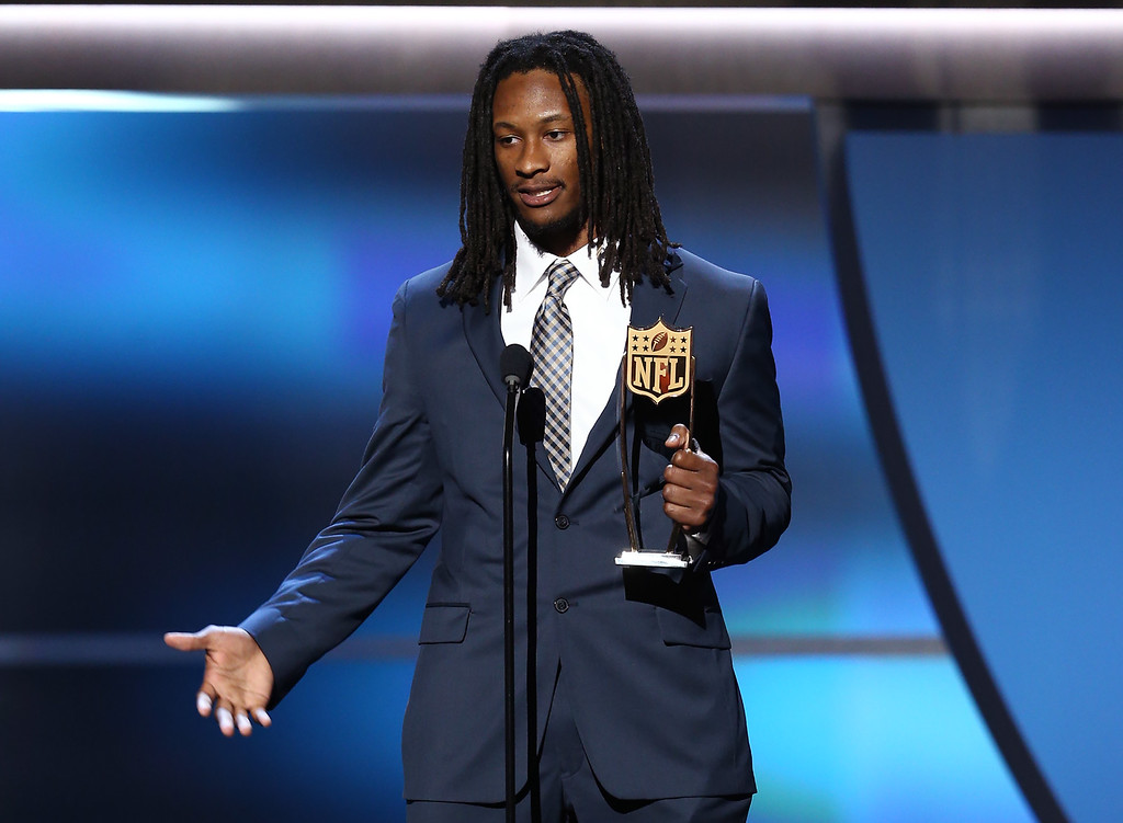 . Todd Gurley of the St. Louis Rams accepts the AP Offensive Rookie of the Year award at the fifth annual NFL Honors at the Bill Graham Civic Auditorium on Saturday, Feb. 6, 2016, in San Francisco. (Photo by John Salangsang/Invision for NFL/AP Images)