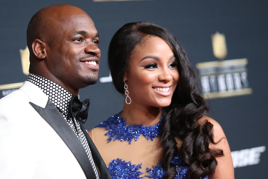 ". FedEx Ground Player of the Year Award winner Adrian Peterson, of the Minnesota Vikings, and Ashley Brown Peterson arrive at the ""5th Annual NFL Honors\"" at Bill Graham Civic Auditorium on Saturday, Feb 6, 2016, in San Francisco. FedEx is the Official Delivery Service Sponsor of the NFL. (Photo by Omar Vega/Invision for FedEx/AP Images)"