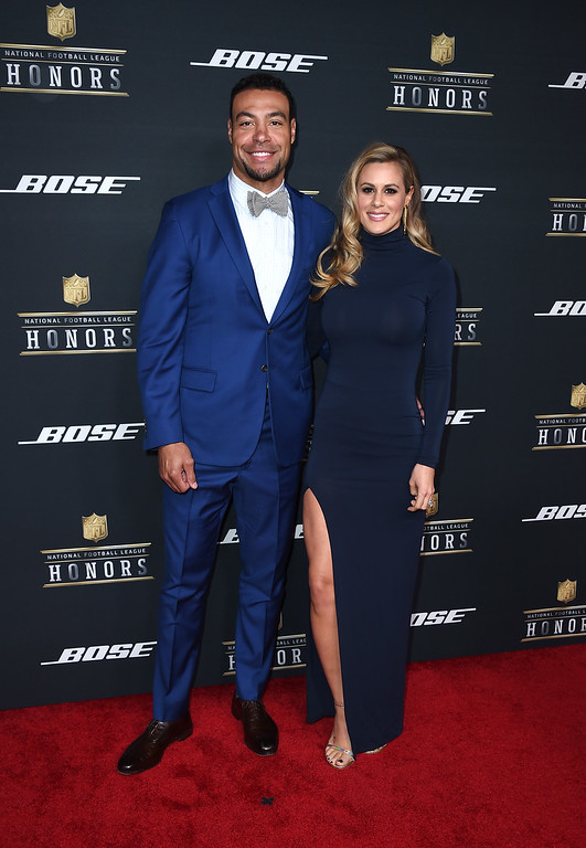 . Vincent Jackson, left, of the Tampy Bay Buccaneers, and Lindsey VanDeweghe arrive at the fifth annual NFL Honors at the Bill Graham Civic Auditorium on Saturday, Feb. 6, 2016, in San Francisco. (Photo by Jordan Strauss/Invision for NFL/AP Images)