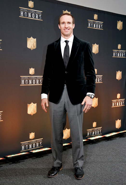 . New Orleans Saints\' Drew Brees poses in the press room at the fifth annual NFL Honors at the Bill Graham Civic Auditorium on Saturday, Feb. 6, 2016, in San Francisco. (Photo by Alison Yin/Invision for NFL/AP Images)