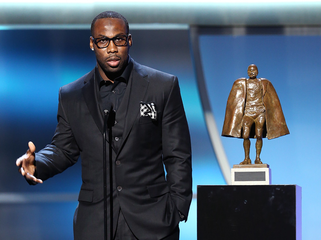 . San Francisco 49ers\' Anquan Boldin accepts the Walter Payton NFL Man of the Year award at the fifth annual NFL Honors at the Bill Graham Civic Auditorium on Saturday, Feb. 6, 2016, in San Francisco. (Photo by John Salangsang/Invision for NFL/AP Images)