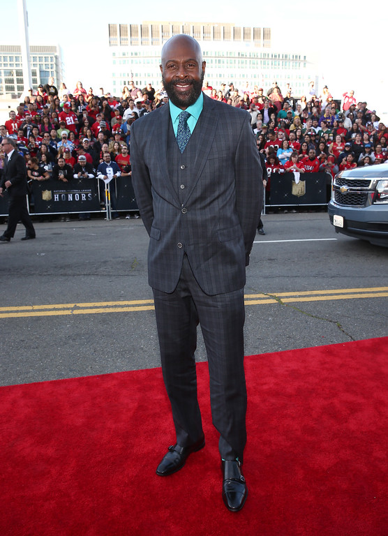 . Former NFL player Jerry Rice arrives at the fifth annual NFL Honors at the Bill Graham Civic Auditorium on Saturday, Feb. 6, 2016, in San Francisco. (Photo by John Salangsang/Invision for NFL/AP Images)