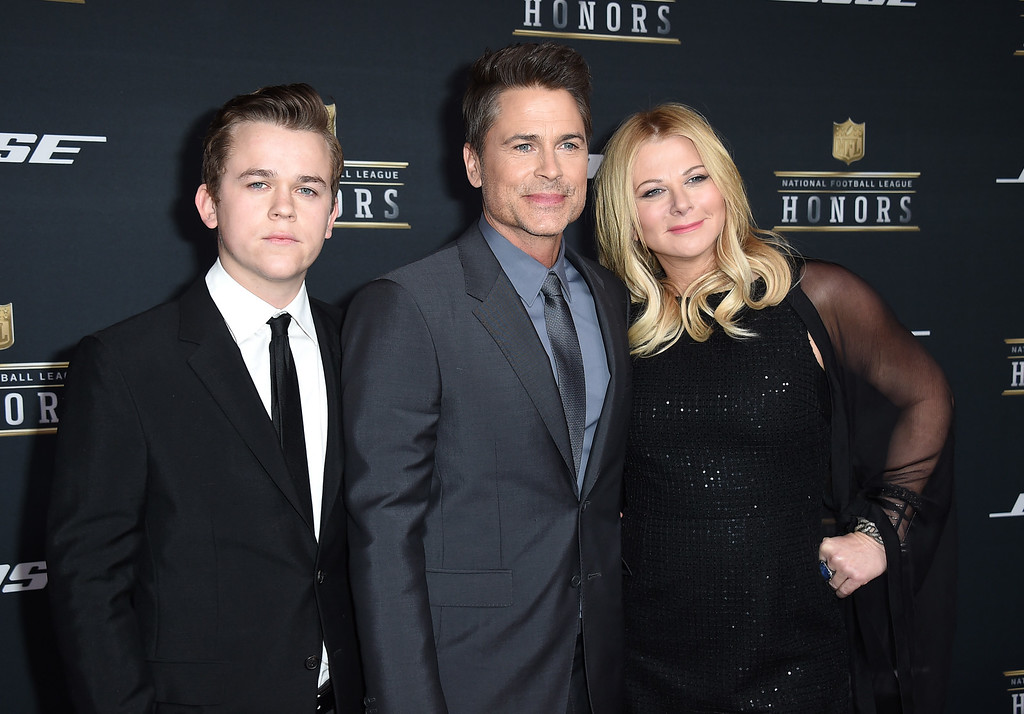 . John Lowe, Rob Lowe, and Sheryl Berkoff, from left, arrive at the fifth annual NFL Honors at the Bill Graham Civic Auditorium on Saturday, Feb. 6, 2016, in San Francisco. (Photo by Jordan Strauss/Invision for NFL/AP Images)