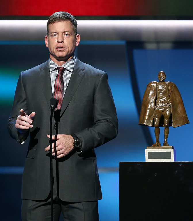 . Former Dallas Cowboys quarterback Troy Aikman presents the Walter Payton NFL Man of the Year award at the fifth annual NFL Honors at the Bill Graham Civic Auditorium on Saturday, Feb. 6, 2016, in San Francisco. (Photo by John Salangsang/Invision for NFL/AP Images)