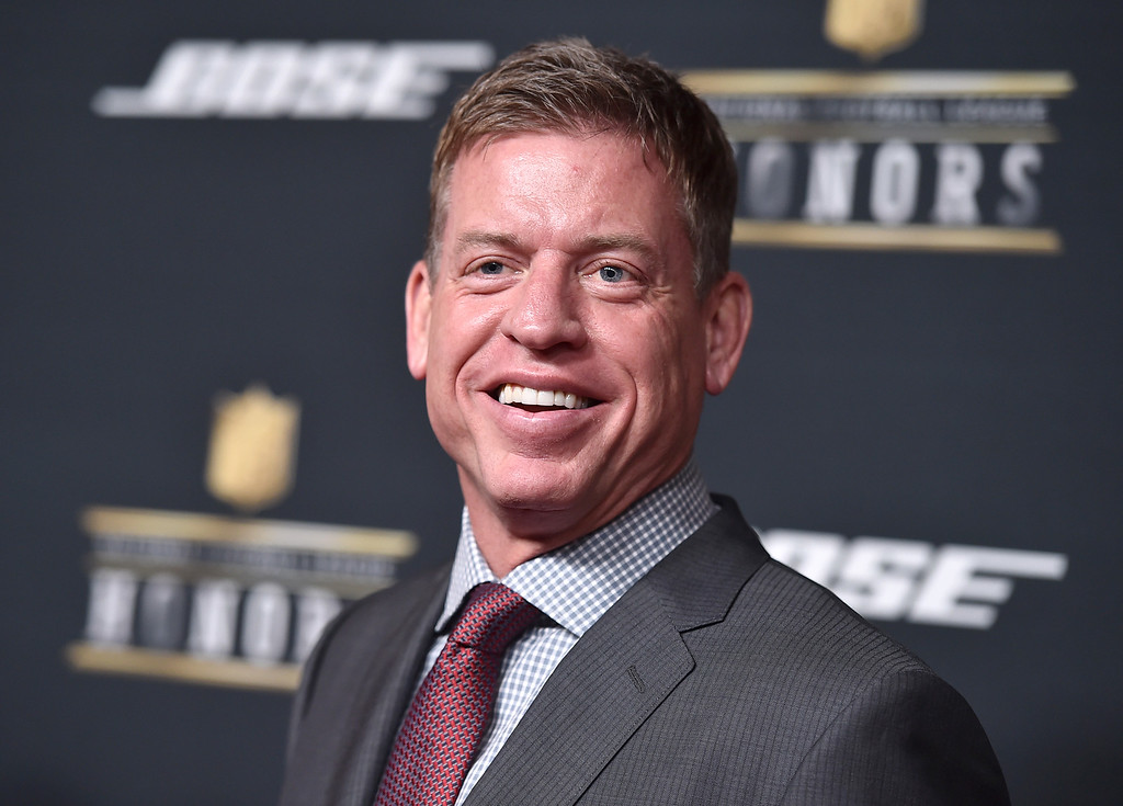 . Former NFL player Troy Aikman arrives at the 5th annual NFL Honors at the Bill Graham Civic Auditorium on Saturday, Feb. 6, 2016, in San Francisco. (Photo by Jordan Strauss/Invision for NFL/AP Images)