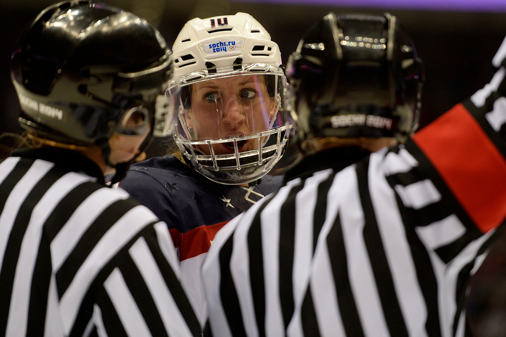 . Meghan Duggan (10) of the U.S.A. argues a call while playing Canada  during the second period of the women\'s gold medal ice hockey game. Sochi 2014 Winter Olympics on Thursday, February 20, 2014 at Bolshoy Ice Arena. (Photo by AAron Ontiveroz/ The Denver Post)