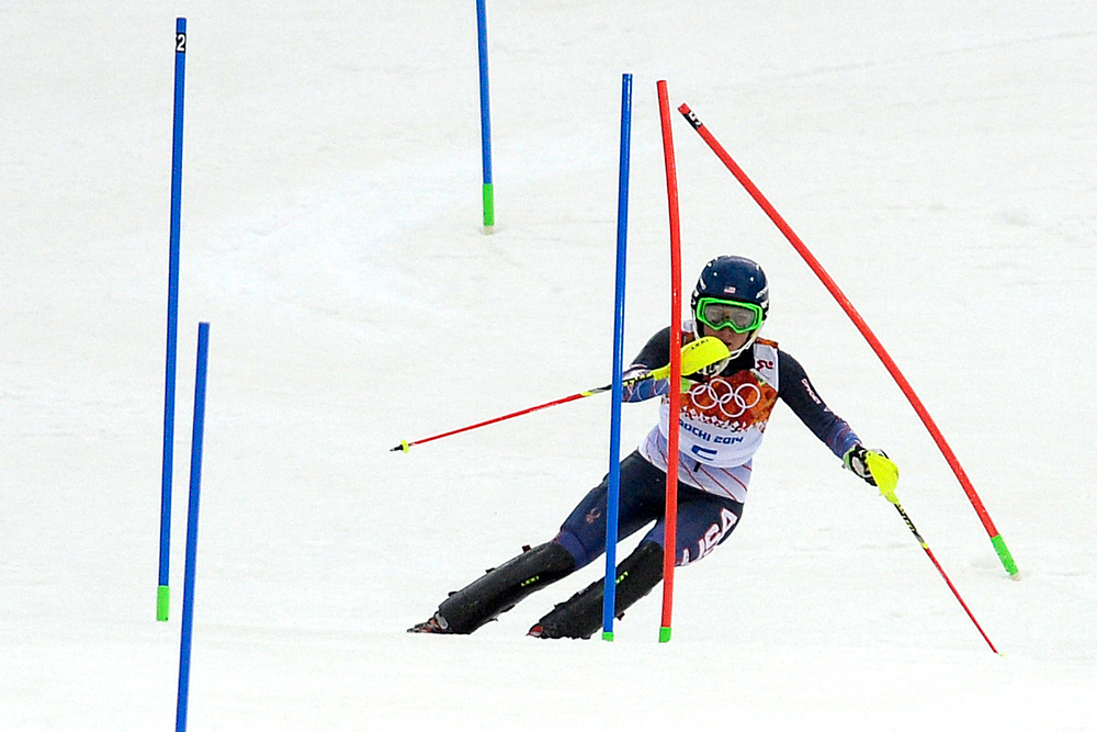 . American Mikaela Shiffrin skis during ladies\' slalom run 1. Sochi 2014 Winter Olympics on Friday, February 21, 2014 at Rosa Khutor Alpine Center. (Photo by AAron Ontiveroz/ The Denver Post)