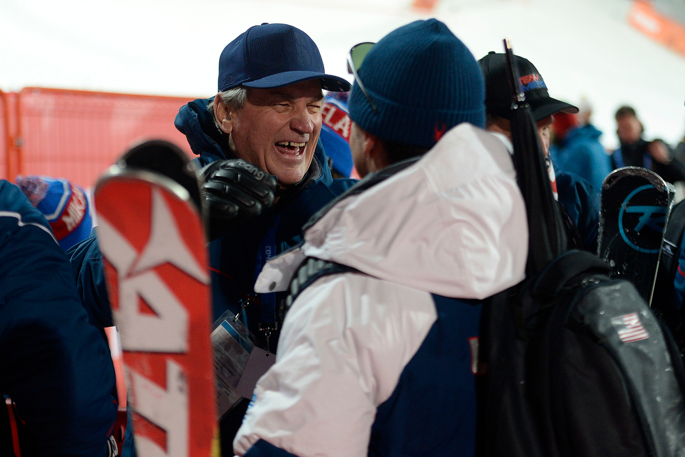 . Ski President Bill Marolt laughs after Mikaela Shiffrin takes gold during ladies\' slalom run 2. Sochi 2014 Winter Olympics on Friday, February 21, 2014 at Rosa Khutor Alpine Center. (Photo by AAron Ontiveroz/ The Denver Post)
