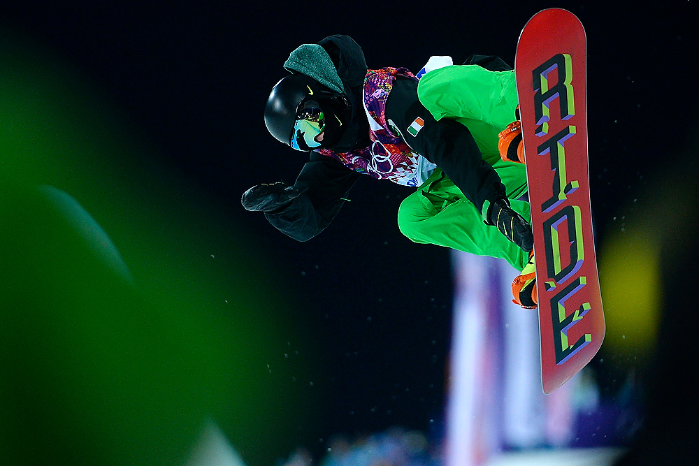 . A snowboarder competes during the men\'s snowboard halfpipe semifinal. Sochi 2014 Winter Olympics on Tuesday, February 11, 2014. (Photo by AAron Ontiveroz/The Denver Post)