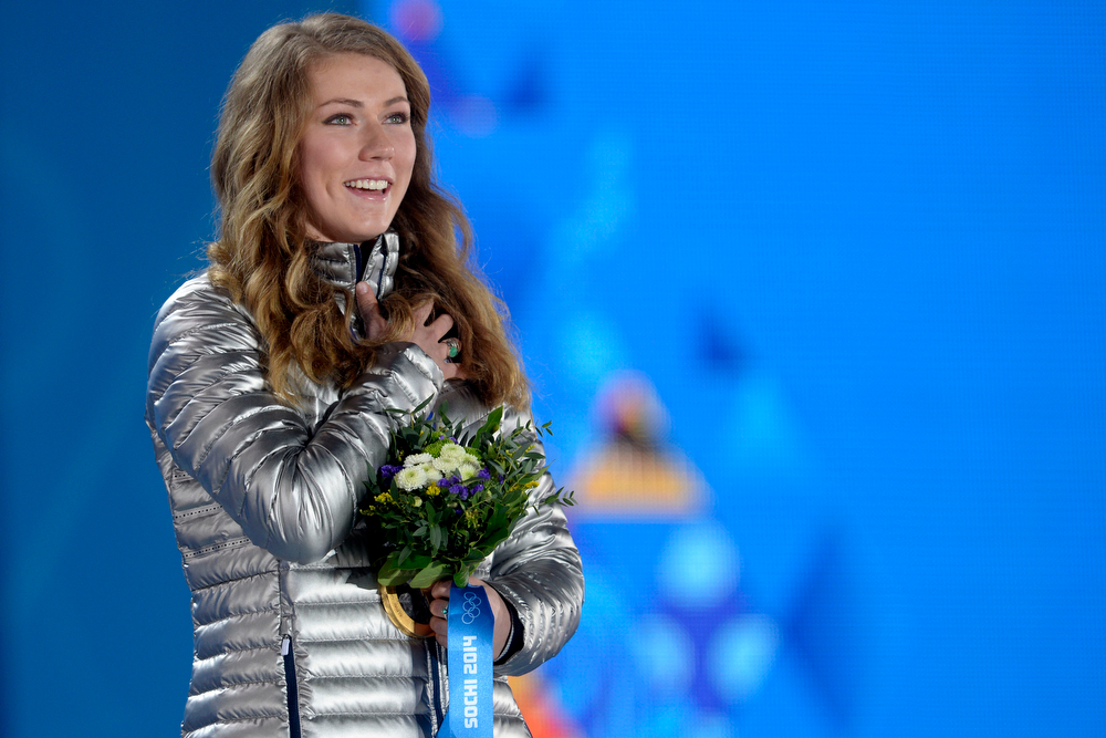 . American Mikaela Shiffrin holds her hand over her heart after receiving her gold medal during the ladies\' slalom medals ceremony. Sochi 2014 Winter Olympics on Friday, February 22, 2014 at Sochi Olympic Park. (Photo by AAron Ontiveroz/ The Denver Post)
