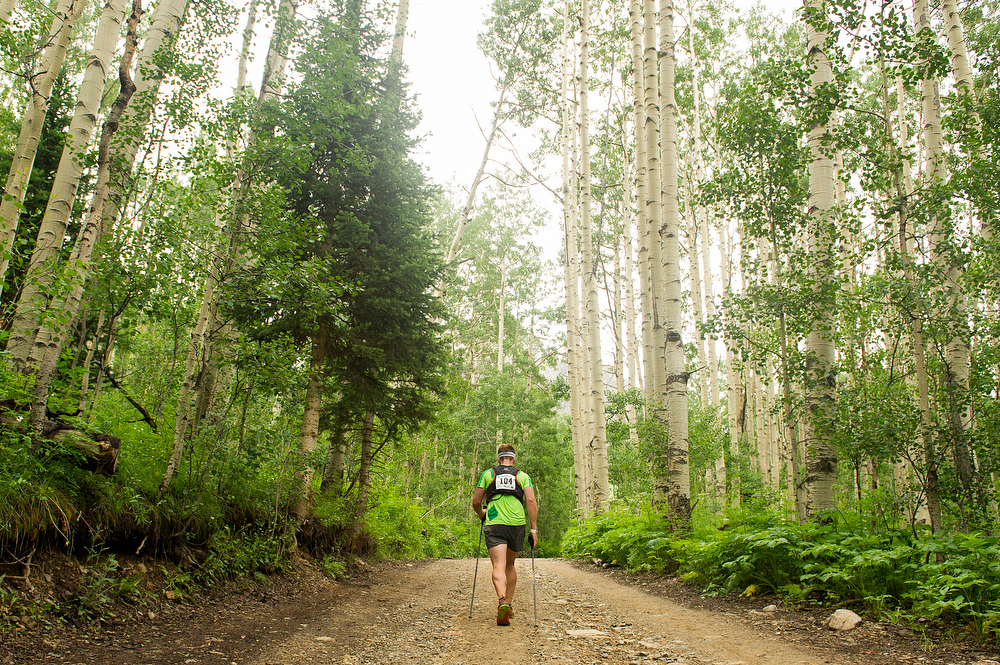 . Stuart Air #104 races just past the Chapman Gulch Aid Station during the Hardrock 100 Endurance Run on July 11, 2014, in the San Juan Mountains near Ophir, Colorado. (Photo by Daniel Petty/The Denver Post)