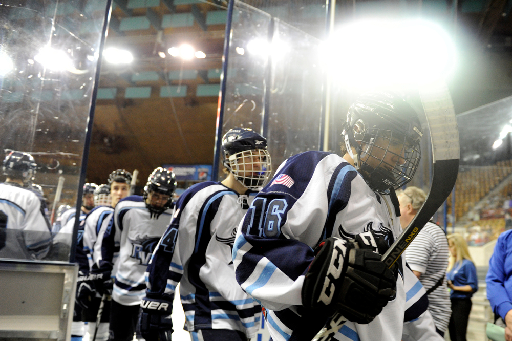 . Ralston Valley steps off the ice for the second intermission against Cherry Creek in a CHSAA ice hockey semifinal at the Denver Coliseum on February 28, 2014, in Denver, Colorado. Ralston Valley won 6-2. (Photo by Daniel Petty/The Denver Post)