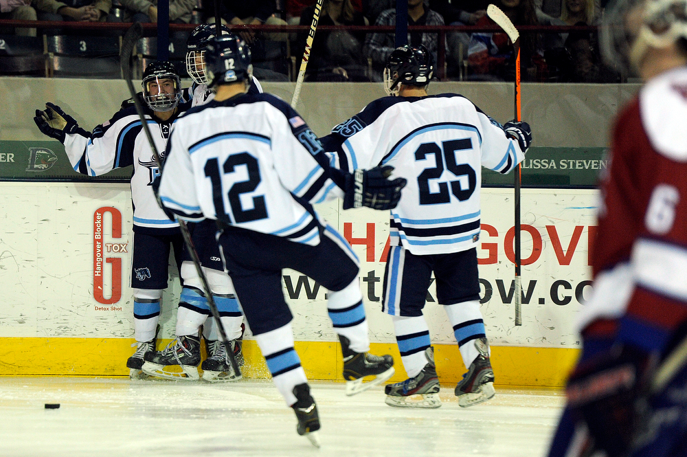 . Ralston Valley celebrates after scoring a goal against Cherry Creek in a CHSAA ice hockey semifinal at the Denver Coliseum on February 28, 2014, in Denver, Colorado. Ralston Valley won 6-2. (Photo by Daniel Petty/The Denver Post)