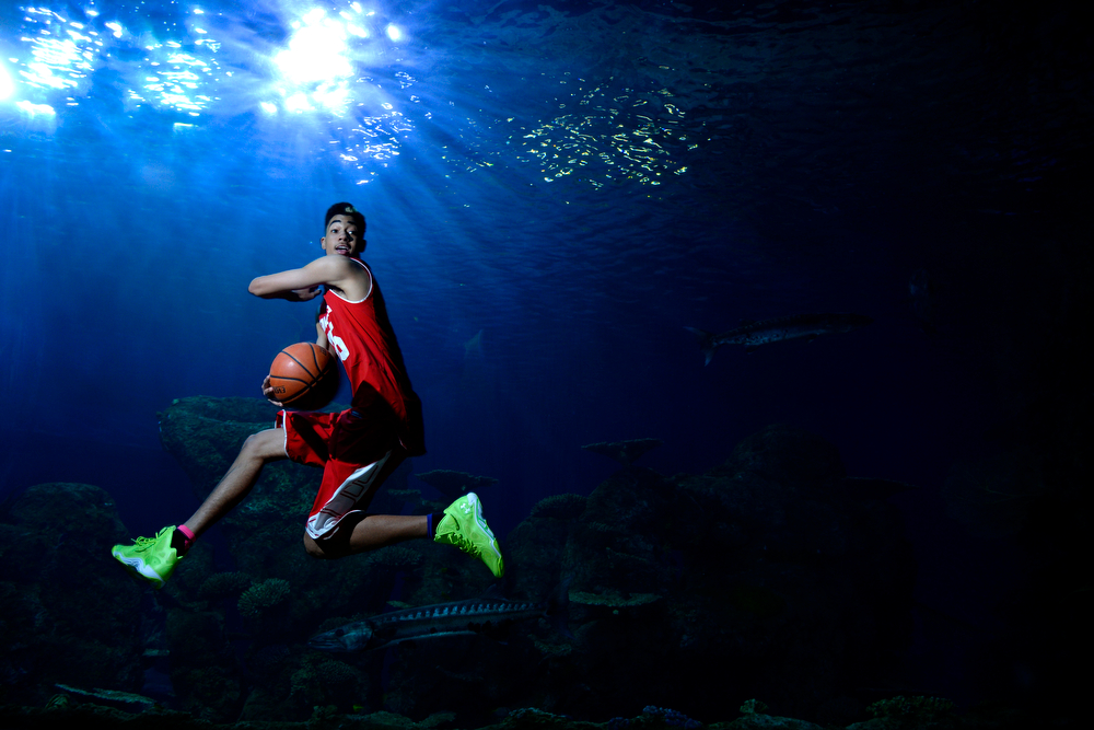 . DENVER, CO - APRIL 02: East High School\'s Ronnie Harrell poses for a portrait. All-state boys and girls basketball portraits at the Downtown Aquarium on Wednesday, April 2, 2014. (Photo by AAron Ontiveroz/The Denver Post)
